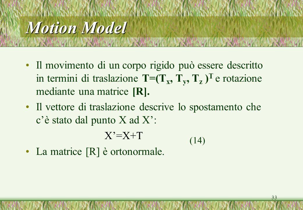 Motion Model Il movimento di un corpo rigido può essere descritto in termini di traslazione T=(Tx, Ty, Tz )T e rotazione mediante una matrice [R].